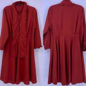 Eloquii Rust Tie Neck Fit & Flare Dress Size 14